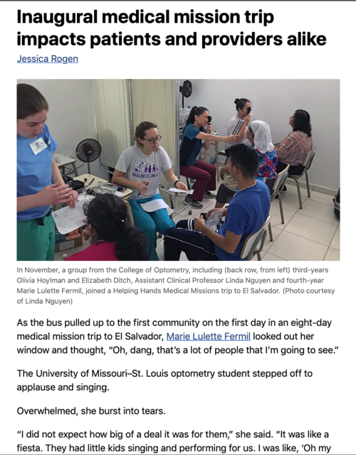 Inaugural medical mission trip impacts patients and providers alike by Jessica Rogen